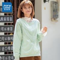 真维斯女装 秋季新款 弹力卫衣布圆领拼蕾丝布长袖T恤