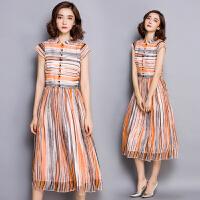 夏天衬衫雪纺连衣裙夏装新款女装潮裙子夏波西米亚长裙沙滩裙
