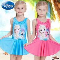 迪士尼冰雪奇�泳衣女童 �和�泳�b公主裙式女孩�B�w防�裼斡疽孪�