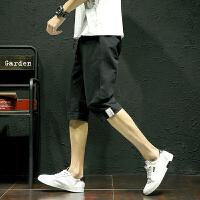 夏季男士休闲短裤子韩版潮流7七分裤日系宽松薄款运动6六分半截裤