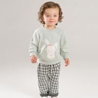 [领��400减80]戴维贝拉秋冬新款女童套装 宝宝卡通两件套DBM8181