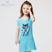 派克兰帝童装 女童卡通印花针织连衣裙