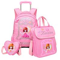 小学生拉杆书包女三轮 儿童双肩包6-12周岁
