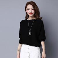 秋冬装新款针织衫蝙蝠袖毛衣女大码宽松上衣韩版短款打底衫外套