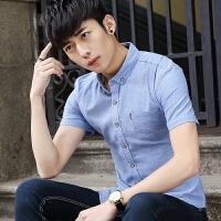 短袖衬衫男2018夏季新款青少年韩版修身潮流帅气休闲薄款衬衣