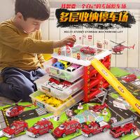 儿童合金消防工程玩具模型套装男孩警耐摔各类小汽车可收纳停车场