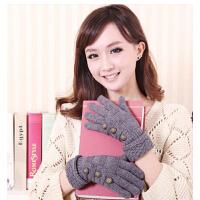 韩版秋冬新款全指纽扣毛线手套 女 女士手套 冬季保暖 冬