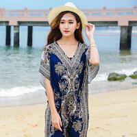 夏季新款大码宽松连衣裙长裙V领波西米亚复古旅游度假休闲裙