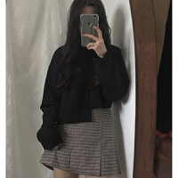 春装女装新款韩版原宿风不规则宽松百搭短款套头卫衣学生露脐上衣 均码