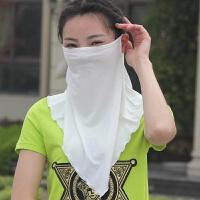 夏季防晒口罩户外骑行护颈防晒防紫外线面罩透气大薄透面纱女 白色 竹纤维面纱