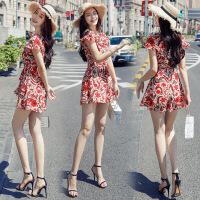 碎花雪纺连体裤女2018夏装新款韩版高腰显瘦阔腿短裤洋气时尚套装 红色