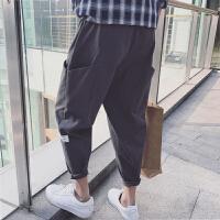 2017新款男裤子潮流个性大口袋宽松休闲哈伦裤学生韩版嘻哈九分裤