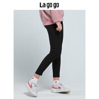 【清仓3折价59.7】Lagogo/拉谷谷2019冬季新款纯色高腰裤子GCKK53ZA32