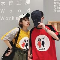韩版情侣装夏装新短袖T恤圆领打底衫半袖上衣学生可爱小班服