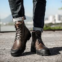 冬季加绒男鞋高帮鞋男韩版工装英伦风靴子马丁靴男棉鞋子
