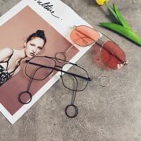 创意潮流明星同款网红平光眼镜男女原宿大框个性耳环装饰时尚眼镜 均码