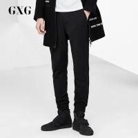 GXG休闲裤男装 秋季男士修身时尚潮流气质都市流行黑色长裤男
