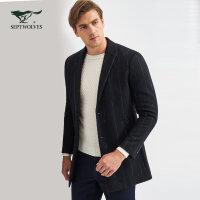 七匹狼大衣 2017男士冬季热销毛呢西装领竖条中长款毛呢大衣外套