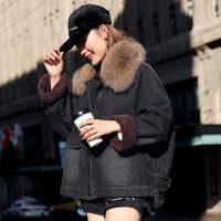 短款女冬装韩版宽松狐狸大毛领加厚加绒牛仔棉衣外套