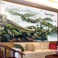 满绣十字绣万里长城客厅新款大幅丝线绣十字绣中国风景画江山如画