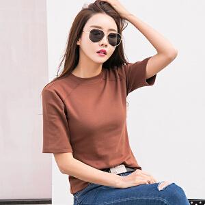 夏季新款韩版大码纯色打底衫女修身短袖T恤显瘦棉质体恤小衫