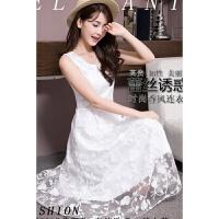 夏白色蕾丝修身连衣裙渡假沙滩裙长裙中长款礼服收腰大摆仙女裙子 白色