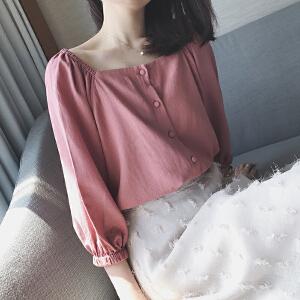 哆哆何伊韩范西柚红方领上衣女夏百搭2018新款宽松灯笼袖复古衬衫