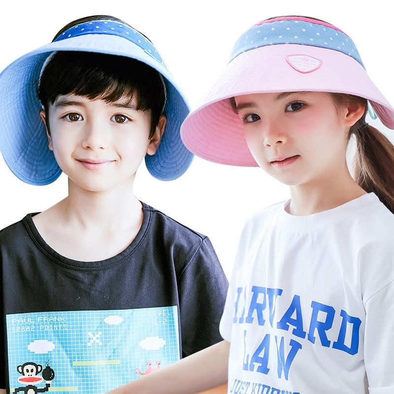 KK树新款儿童帽子夏季男女童防晒帽宝宝遮阳帽小孩太阳帽防紫外线加大帽檐 时尚透气吸汗