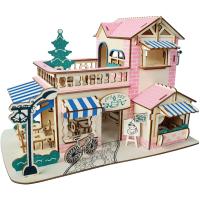 男女生房子建筑别墅礼物木制3d立体拼图模型拼装儿童玩具