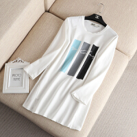 大码女装秋冬新款彩块印花字母刺绣长袖中长款T恤上衣打底衫