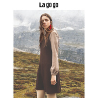 【开学季单件五折叠300-30优惠券】Lagogo 2018秋冬新款吊带连衣裙两件套女长袖高腰裙子HCLL839A38