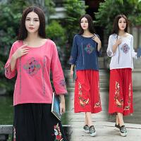 中国风女装上衣 秋装 民族风刺绣复古苎麻九分袖T恤宽松衬衫