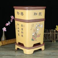 紫砂花盆兰花盆高花盆带底座彩绘中国风