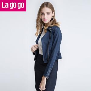 Lagogo拉谷谷春秋韩版飞行员夹克开衫百搭长袖牛仔外套女修身短款