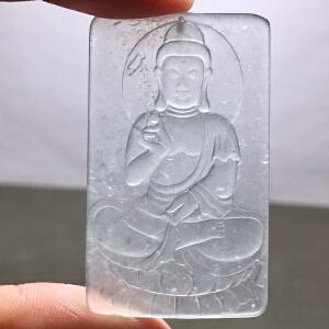 天然玻璃种翡翠大日如来挂件【18F6013】
