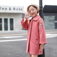 女童呢子大衣2018新款韩版洋气儿童童装大童中长款秋冬毛呢厚外套