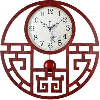挂钟客厅静音中式钟表大号时钟创意个性石英表复古木钟卧室田园