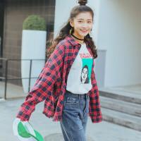 韩版春季chic复古酒红色格子磨破毛边长袖衬衫女宽松学生棉衬衣潮