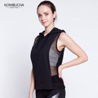 【女神特惠价】Kombucha运动健身T恤女士网纱镂空速干透气排汗无袖连帽短袖T恤跑步健身运动上衣K0260