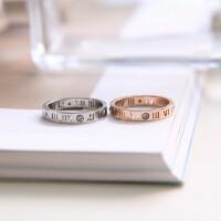 新款韩版时尚幸运罗马数字镀玫瑰金情侣戒指指环钛钢对戒七夕饰品 银色 1.65厘米