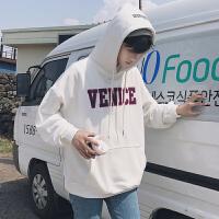 新款2018秋季韩版卫衣男士字母印花宽松运动外套风连帽套头衣服