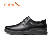 红蜻蜓真皮男单鞋秋季款男士系带软底休闲鞋低帮皮鞋男