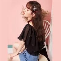 韩版衬衫7m夏季新品一字领罗纹韩版宽松学生雪纺印花衬衣女70010031