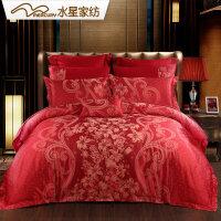 水星家纺婚庆四件套大红床单被套粉色婚庆床上用品喜庆百合热恋