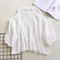 立领露肩泡泡袖雪纺衫女夏新款韩版宽松甜美气质小衫防晒衬衫上衣 白色 均码