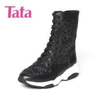 Tata/他她专柜同款小牛皮女休闲短靴FC960DZ6