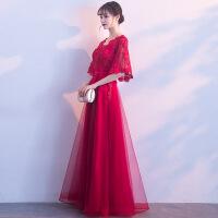 新娘敬酒服2018新款秋冬季韩版优雅中长款结婚晚礼服连衣裙女红色