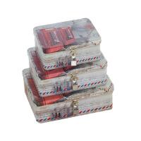 20180527191514949创意小清新带锁收纳铁盒 桌面收纳整理储物盒 半岛铁盒 密码盒 乳白色 电话亭