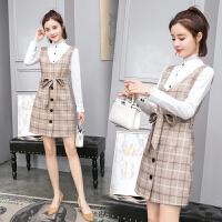 中长款裙子套装2018春季新款韩版修身显瘦时尚格子背带裙连衣裙女