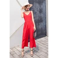新款女装吊带连体裤女夏雪纺阔腿裤红色长裤沙滩裙裤